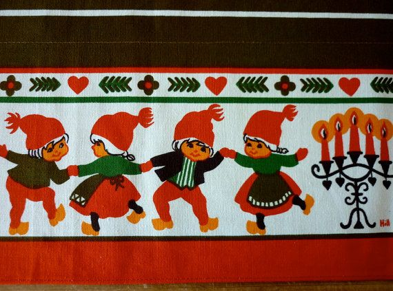 Vintage Scandinavian Christmas Curtain by NordicCountryVintage, €15.00