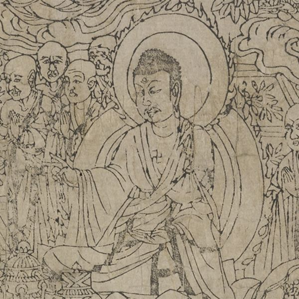 Detail from the frontispiece of the Diamond Sutra, showing the buddha teaching. Or.8210/P.2.