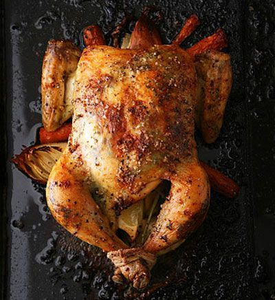 saveur roast chicken - this has become a regular in our house. the herb butter makes the veggies delicious. I always triple the veggies