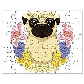 Spring Pug Puzzle from cafepress store: AG Painted Brush T-Shirts. #pug #puzzle #flowers