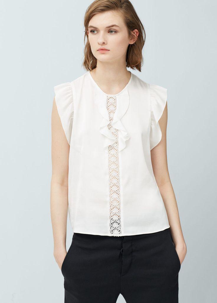 Ruffled sleeve blouse   MANGO