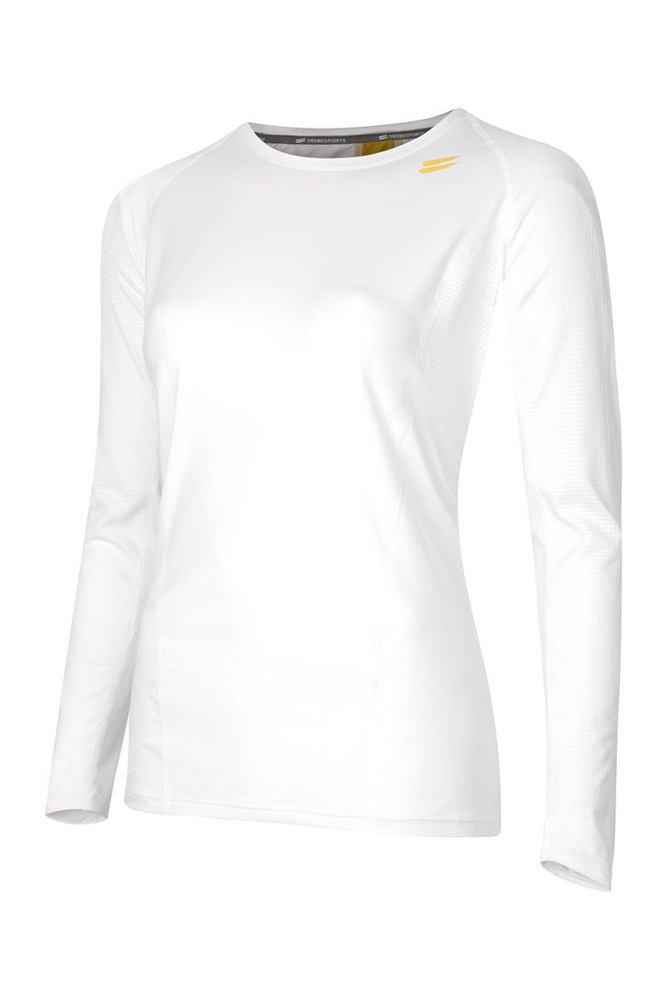 Tribesports Women's Long Sleeve Running Top - White. Ergonomic flatlock seams give a performance enhancing, anti-chafe finish. raglan sleeves for comfort and freedom of movement. Angled cuffs for style and extra coverage. Zoned-ventilation panels for temperature regulation in your core heat zones. 360 degree reflectivity for enhanced visibility in low-light. Aegis antibacterial treatment creates a protective shield, providing active freshness.
