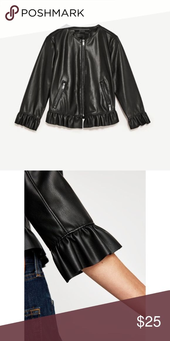 ZARA Leather Effect Frilled Jacket A great staple piece that can put together any outfit. I accidentally ordered a Small instead of a Medium. Has never been worn!! Zara Jackets & Coats