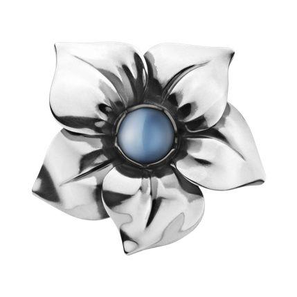 FLOWER ring - sterlingsølv med blå månesten