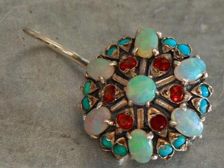 zilveren oorbellen met opalen, granaat en turkoois - Prachtig!!!