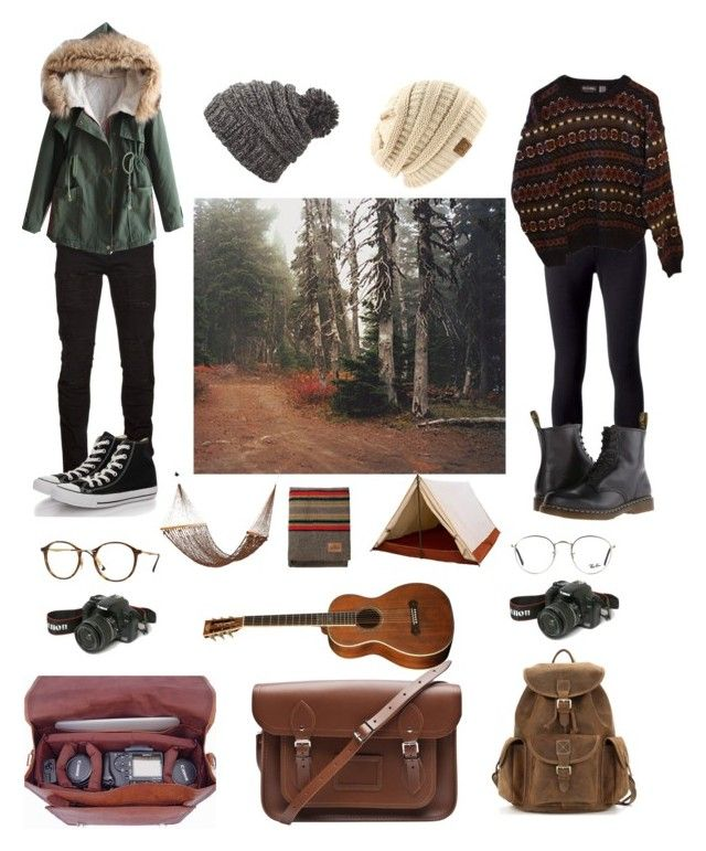 """Camping"" by forever-lost-at-sea1 on Polyvore featuring Marcelo Burlon, Retrò, Ray-Ban, Jockey, Eos, The Cambridge Satchel Company, Dakine, INDIE HAIR, Dr. Martens and Converse"