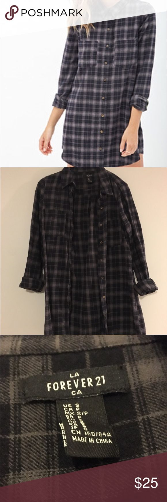 Forever 21 Plaid Flannel Shirt Dress Only been worn a handful of times and is in great condition. Forever 21 Tops Button Down Shirts