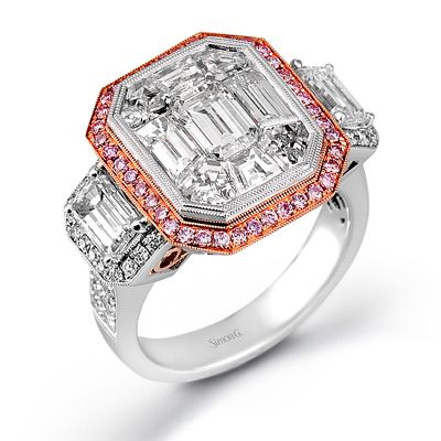 Mosaic Collection � This brilliant 18K white and rose ring features a 3.0ctw center mosaic of white diamond, .45ctw round white Diamonds, .30ctw round pink Diamonds, and 1.06ctw emerald cut white Diamonds. � LP2068-A