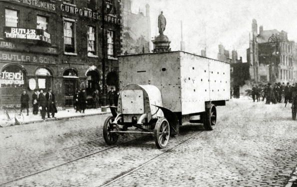 April 1916, A British armoured car in Bachelor's Walk, Dublin, The Irish rebellion began on Easter Monday 24th April 1916 when the Irish rebels attempted to gain control of public buildings in Dublin, but they were doomed to failure (Photo by Popperfoto/Getty Images)