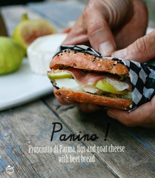 """""""Panino con Prosciutto di Parma, fichi e formaggio di capra con pane alle barbabietole"""", la ricetta di Margherita del blog """"La petite casserole"""" http://lapetitecasserole.com/2014/07/18/panino-prosciutto-di-parma-figs-and-goat-cheese-with-beet-bread/"""