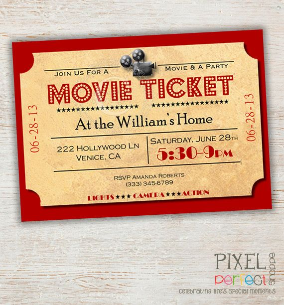 Movie Night Invitation, Movie Party Invitation, Movie Night, Home Theater Movie Ticket, Movie Ticket, Popcorn, Sleepover Invitation