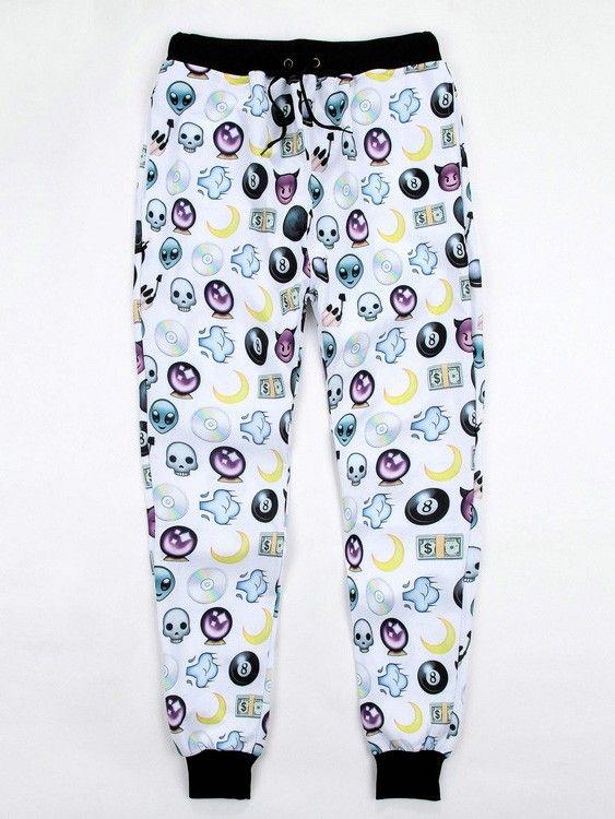 White Emoji Joggers for Sale Aliens Printed Joggers Pants for Men/Women