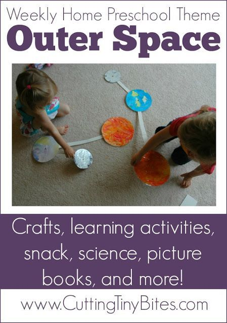 Fun outer space preschool theme for kids. Crafts, science, math, literacy, picture books, snacks, and more! Perfect amount of activities for one week of homeschool pre-k.