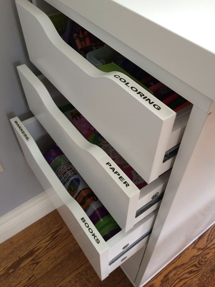 Craft Space AFTER. Ikea base drawers.  Semi hidden labels for easy ID