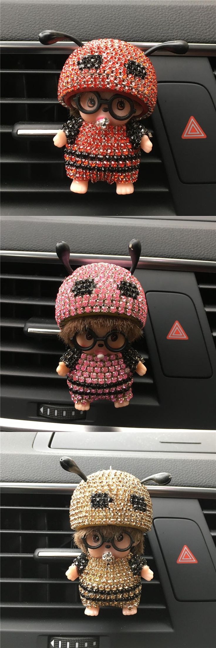 visit to buy car styling cute rhinestone bee car perfume clip exquisite rich color