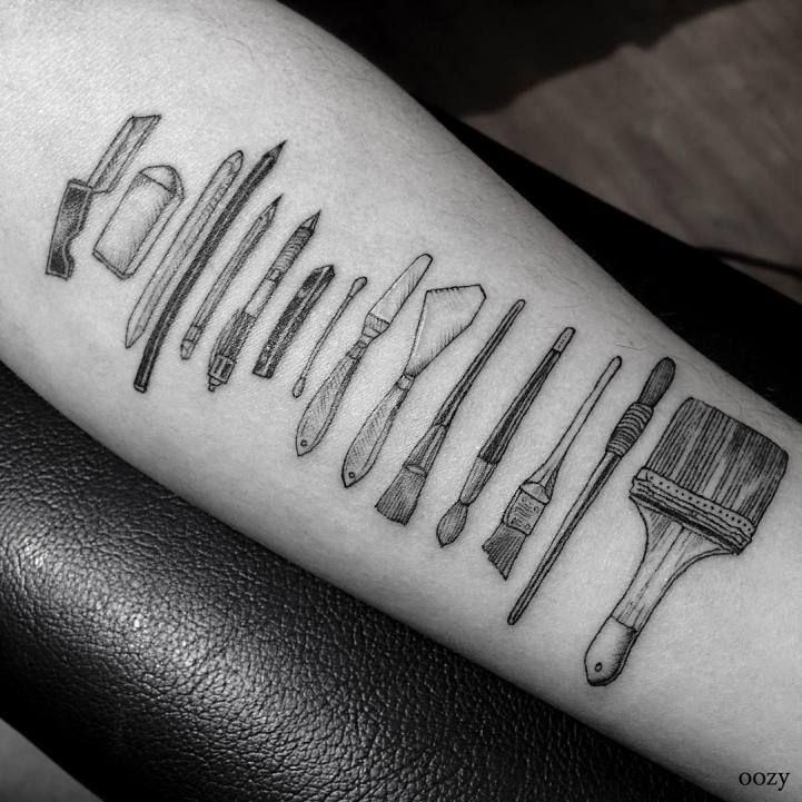 Of all the possible ideas for tattoos designs, objects like a spatula and whisk seem like odd choices... unless you're a chef. In an effort to (permanently) celebrate professions that require skilled hands, Korean tattoo artist Oozy etches their tools on his clients' skin. The elegant linework depicts brushes, knives, and scissors, arranged in a neat row that shows off each item in intricate detail. They're a symbolic, unconventional way to show your love of your chosen career. Not all of…