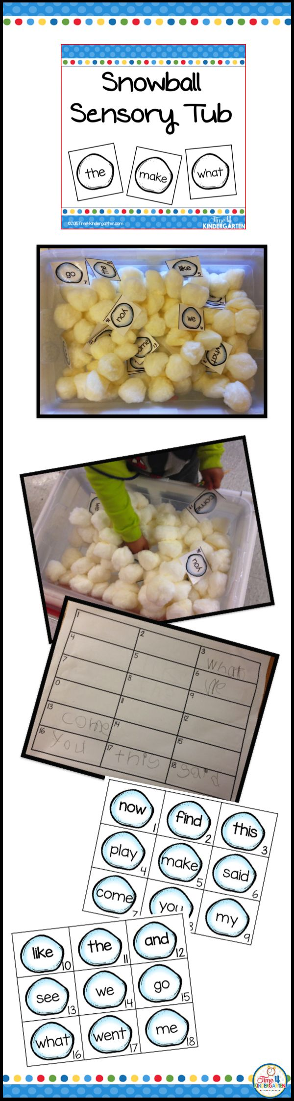 Winter Sensory Snowbal Tub for kindergarten. Practice sight word recognition while exploring through this snowball filled sensory tub. I filled this tub with giant pom poms, but cotton balls will do too.