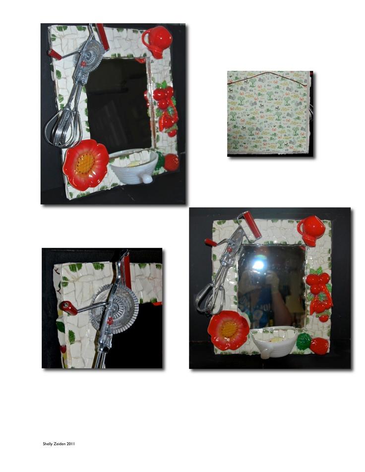 Shelly Zeiden - Mosaic Red and White Vintage Kitchen Mirror