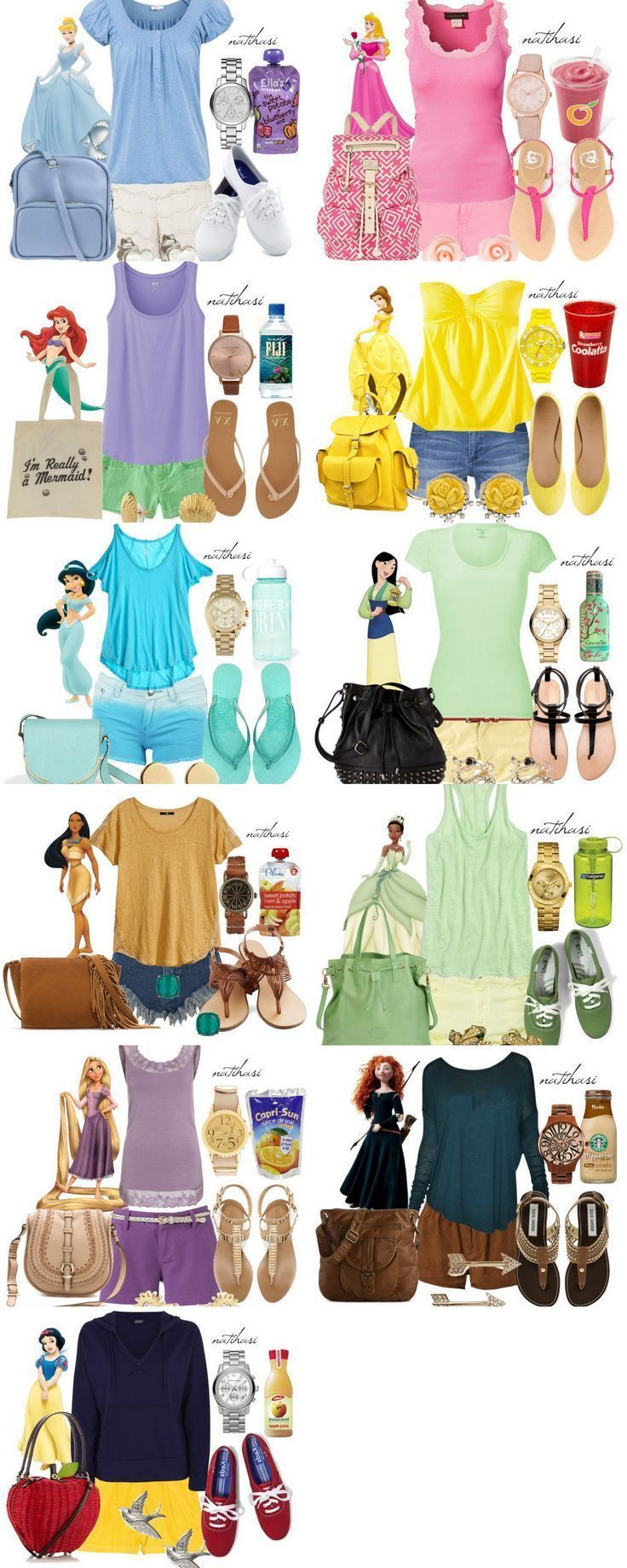 Disney Princess Theme Park Outfit Collection...omg lol you even need to have the right water bottle, or juice container, and hair clips. craazy
