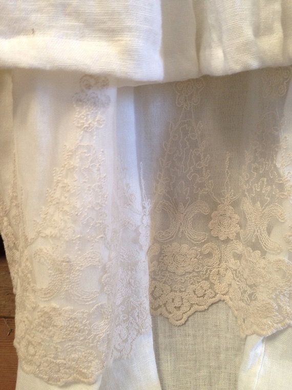 Save $100 this was $329 White linen voile  Double ruffle embroidered lace peeking through between the ruffles  72x78  Custom made to order