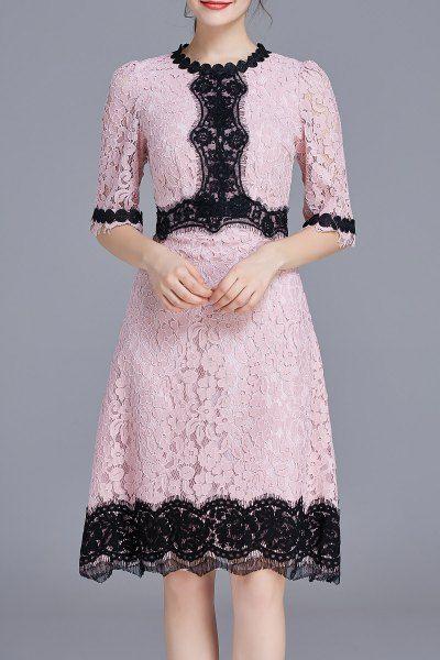 Scalloped Lace Dress - PINK M