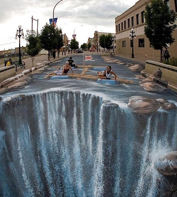 'Waterfall' by Edgar Mueller, street artist.