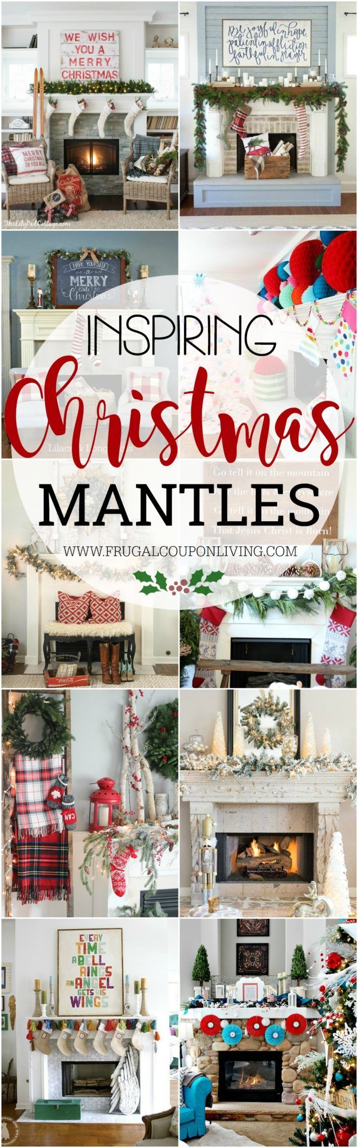 Christmas Decor, Creative and Inspiring Christmas Mantles for your holiday home tour on Frugal Coupon Living. #christmas #homedecor #hometour #mantle #mantledecor