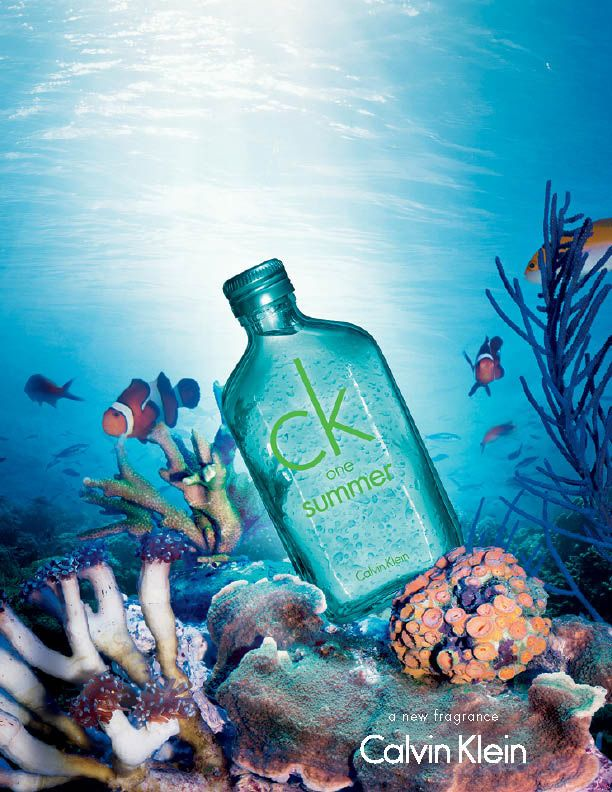 The cool colours of the text onto the cool colour of the ground suggests subtlety and allows the 'ck' to gently recede, creating a calming visual effect.  The large and bold text type blends well with the sea theme of the bottle, however, and the word 'summer' does not work too well as it is written in winter colours. I like the bubbly texture of the bottle surface, which implies that it is the scent of the ocean, as the consumer will instantly refer to it as ocean drops.