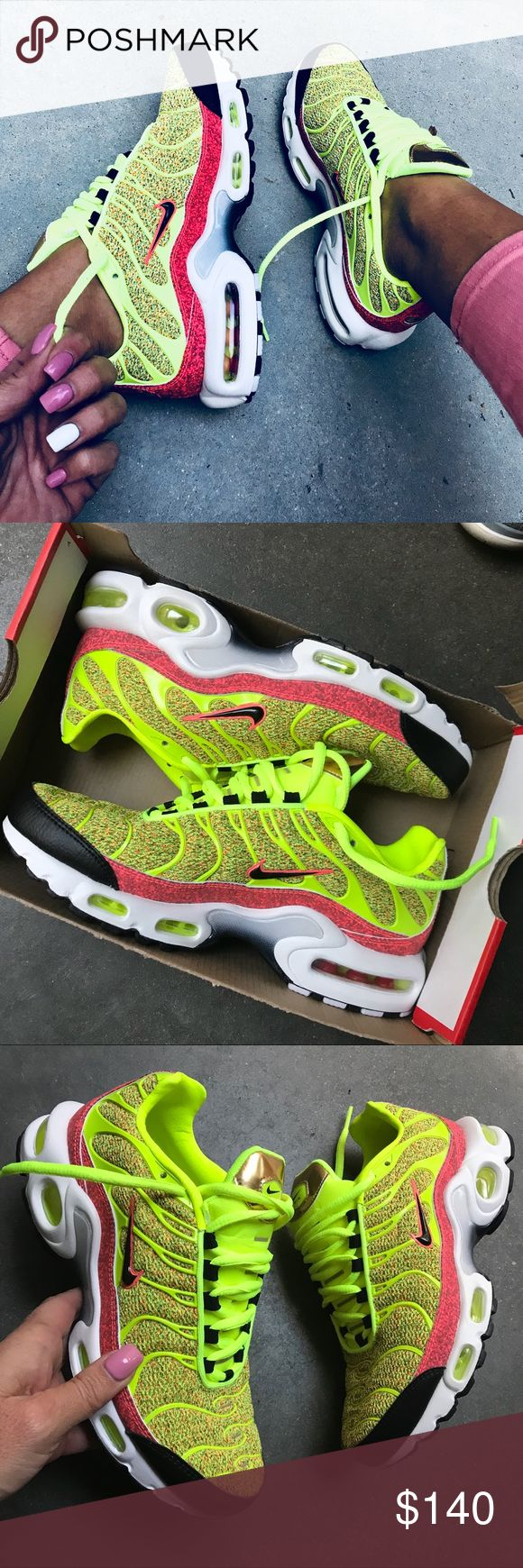 NEW ⚡️ NIKE AIR MAX PLUS SPECIAL EDITION SZ 9.5 BRAND NEW, NIKE AIR MAX PLUS TN | SPECIAL EDITION! SZ 9.5 WOMEN ⚡️ NEON VOLT  THESE ARE SOME OF MY PERSONAL FAVVVVVORITE NIKES ⚡️ TONS OF COMPLIMENTS ON THESE BABIES. YOU WILL BE NOTICED! ⚡️ I AM MODELING MY PERSONAL PAIR. (Cover photo is the only photo that is filtered)  Ships same or next day from my smoke free home. NO BOX.   PRICED FIRM, offers will be considered through the offer button only. Bundle to save. ⚡️ FULL RETAIL $160  100%…
