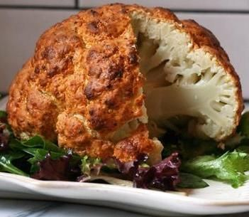Spicy Whole Roasted Cauliflower. It almost looks like a roasted chicken!