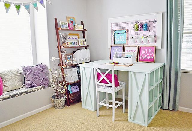 A craft room to talk about, shared by anitab_81 on Instagram using free plans from Ana-White.com