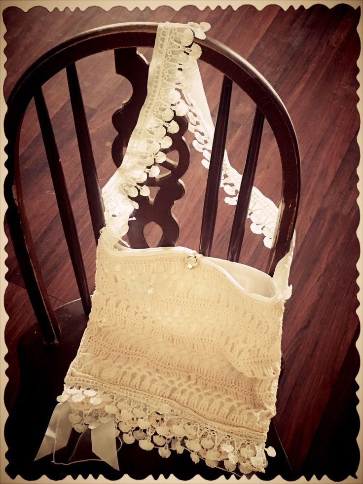 Silk Ribbon, crochet, chiffon, lace and linen bag