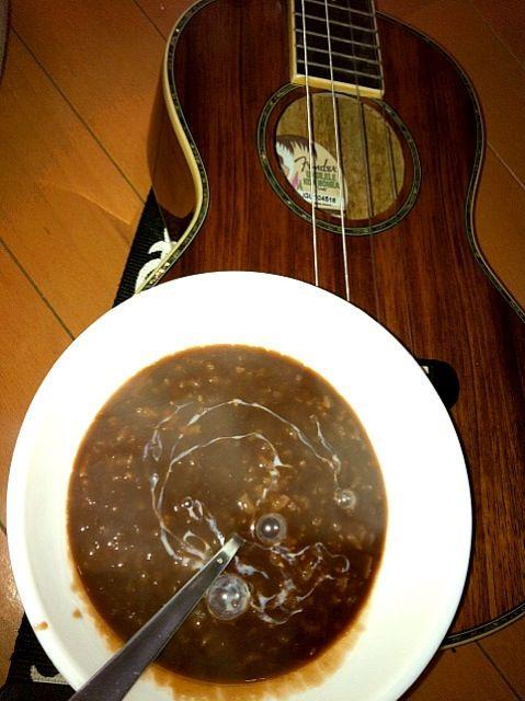 大抵の日本人には敬遠されちゃうチョコレート粥のチャンポラド(⌒-⌒; ) 風邪引いて具合悪そうにしてたら女房が作ってくれた♫ ポーションミルク混ぜて頂くと〜美味しいんだよ〜コレが - 28件のもぐもぐ - Champorado【チョコレート粥:フィリピン料理】 by マニラ男