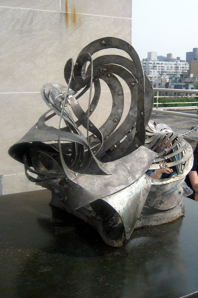 """Frank Stella (American, b. 1936). Chapel of the Holy Ghost (model), 1992, Cast stainless steel, 31 x 34 x 33"""", Lent by the artist, Photo by Steven Sloman"""