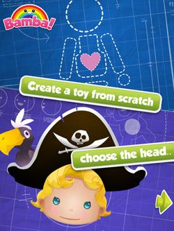 Bamba Toys by @Mezmedia - kids can build their own toys using dozens of customizable toy parts, accessories, packaging designs, and stickers  #topkidsapps #ipadgames #creativity