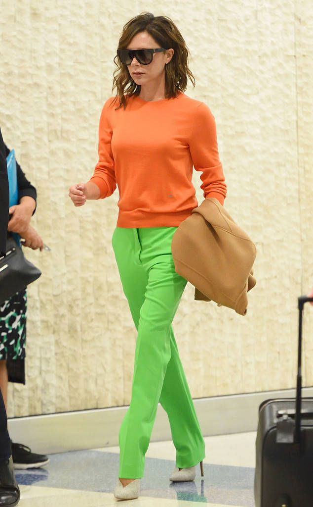 Victoria Beckham from The Big Picture: Today's Hot Photos  Bright Beckham! The fashion guru stands out in a colorful ensemble in JFK Airport.