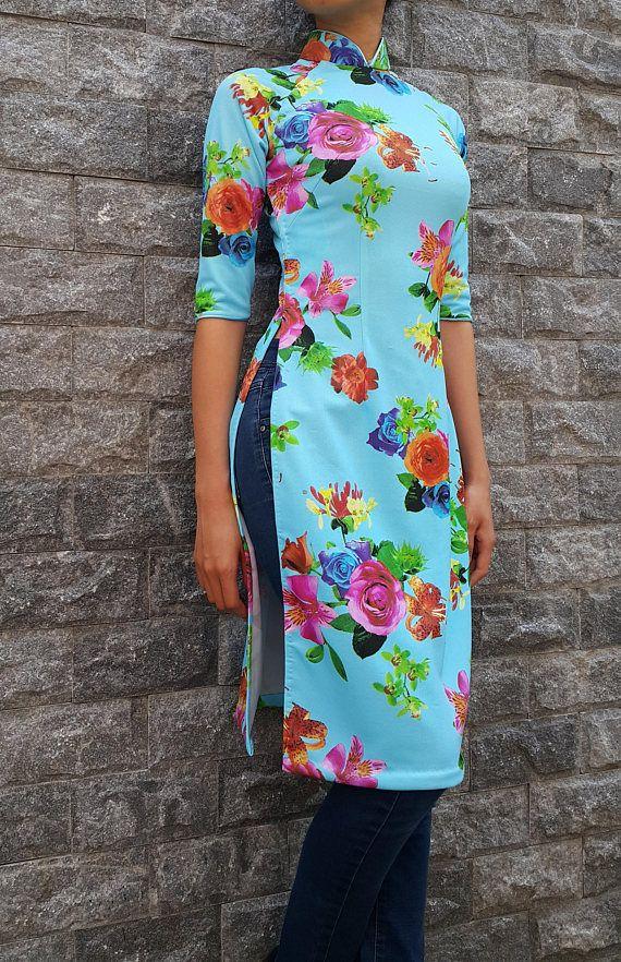 Blue tunic dress, tunic dress, holiday dress, ao dai, kimono, hanbok, qipao, plus size, cheongsam