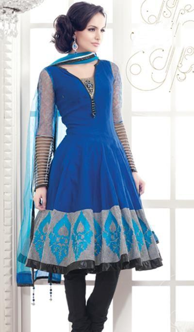 Navy Blue Cotton Silk Embroidered Designer Salwar Suit