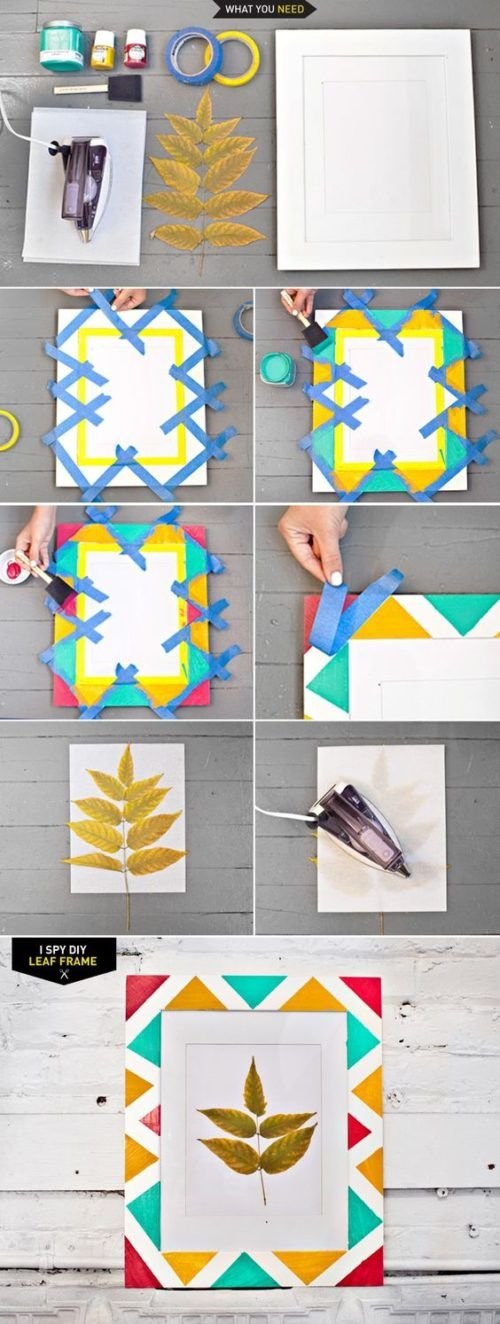 Diy Geometric Painting With Tape Ideas Diy Frame I Spy Diy Crafts