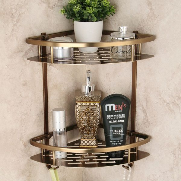 【 $24.92 & Free Shipping / Coupons 】Antique Space aluminum Double Wall Corner Shower Shampoo Soap Cosmetic Storage Bathroom Shelves | Wholesale Buying & Reviews on AliExpress