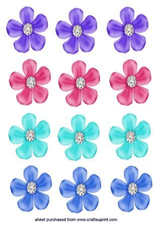 Purple flowers with diamonds emb on Craftsuprint - Add To Basket!
