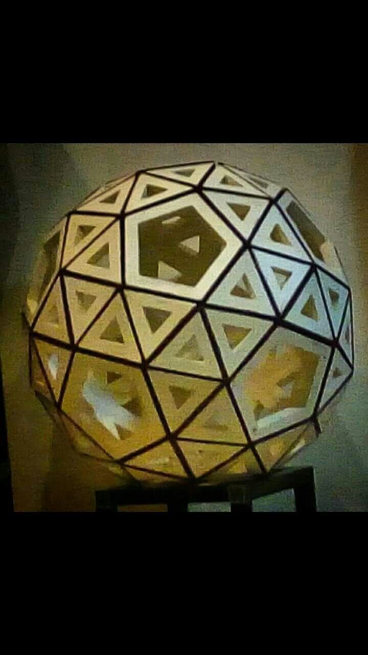 """FROM PAPER TO WOOD  Polyhedron # 18 - SNUB DODECAHEDRON Designed by Leo R. Natividad for Lights & Folds Handicraft Fabricated by Allan Aguinaldo  Using 3/4""""×3/4""""×4.5"""" Softwood 80 Triangles 12 Pentagons  32 Surfaces  60 Apexes  150 Edges  Circumference - 63"""" (160 cm) Diameter - 20"""" (50.8 cm)  Price - Php 8,365.25  #from_paper_to_wood #only_in_the_world #origamipilipinas #lights_and_folds_handicraft #only_in_the_Philippines #origami_inspired_wooden_polyhedron"""