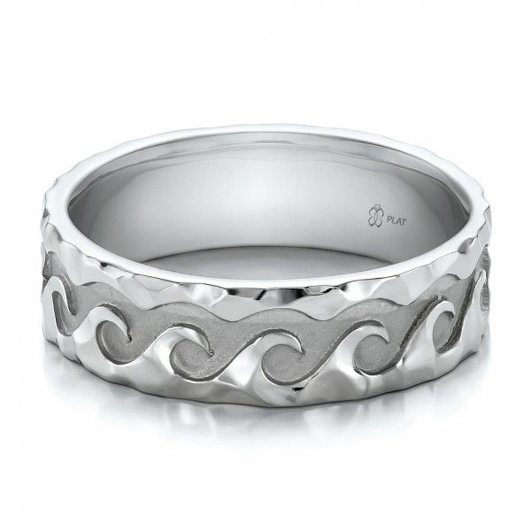 Custom Men S Hammered Wave Wedding Band Fashion Rings Pinterest Bands And