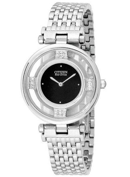 Citizen EG3100-50E Women's Stiletto Diamond Black Dial Watch