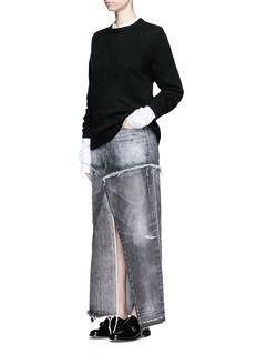 TORTOISEDistressed patchwork denim maxi skirt