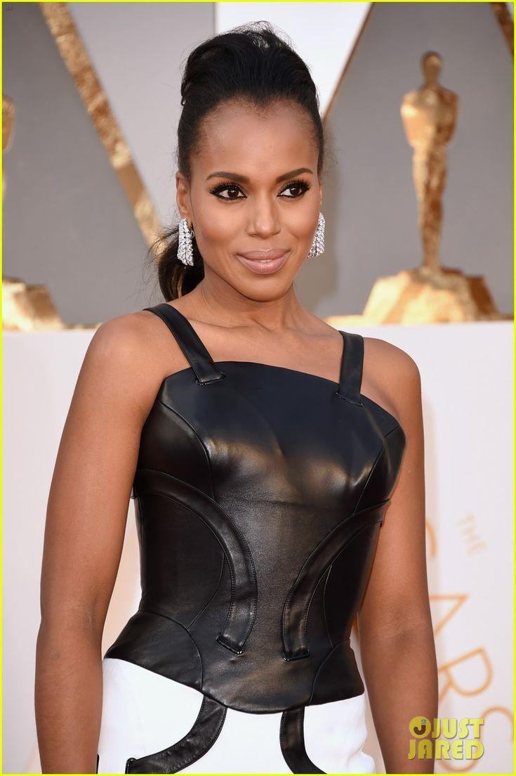 Kerry Washington Rocks Leather Versace for Oscars 2016