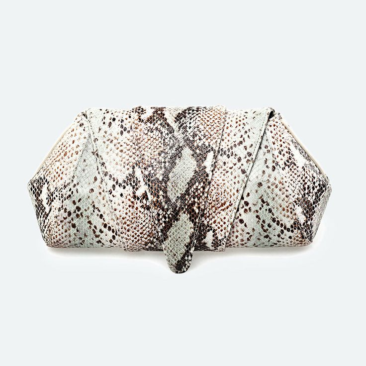 SOKA | Beige Python Leather Clutch
