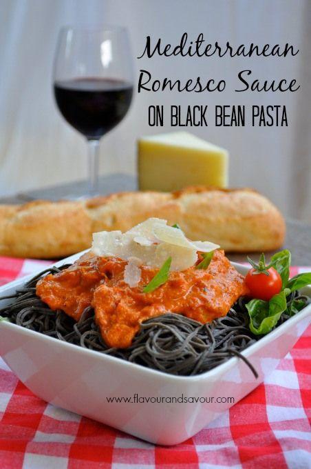 Mediterannean Romesco Sauce on Black Bean Pasta | www.flavourandsavour.com #romesco #blackbeanpasta #gluten-free