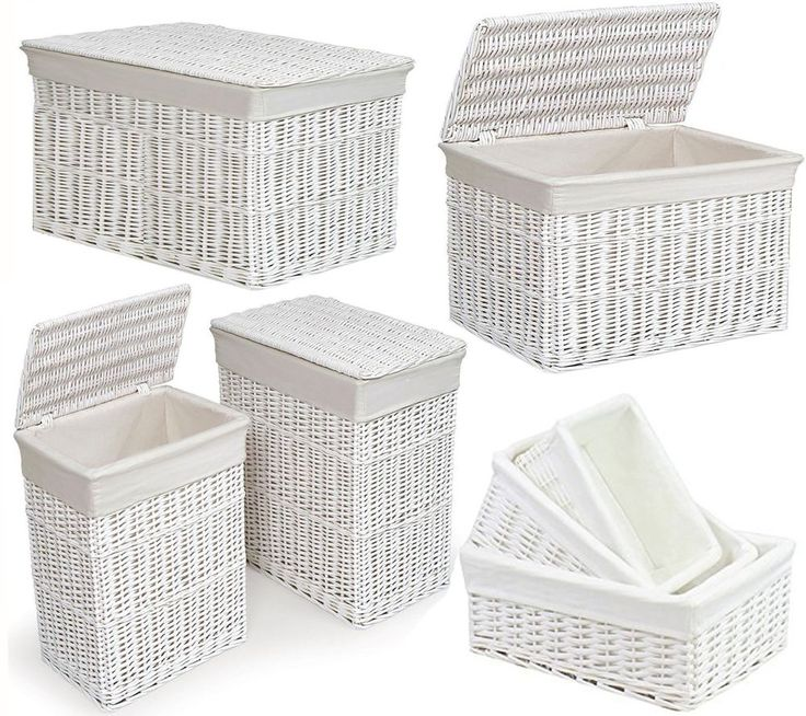 Large Medium White Wicker Laundry Rectangular Basket w/ Lid Hamper Bin Storage