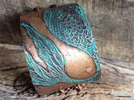 Zeemeermin staart koperen Manchet armband - geëtste - zeemeermin